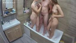 Jennifer and Bradley and friend shower before threesome, Jun08/20