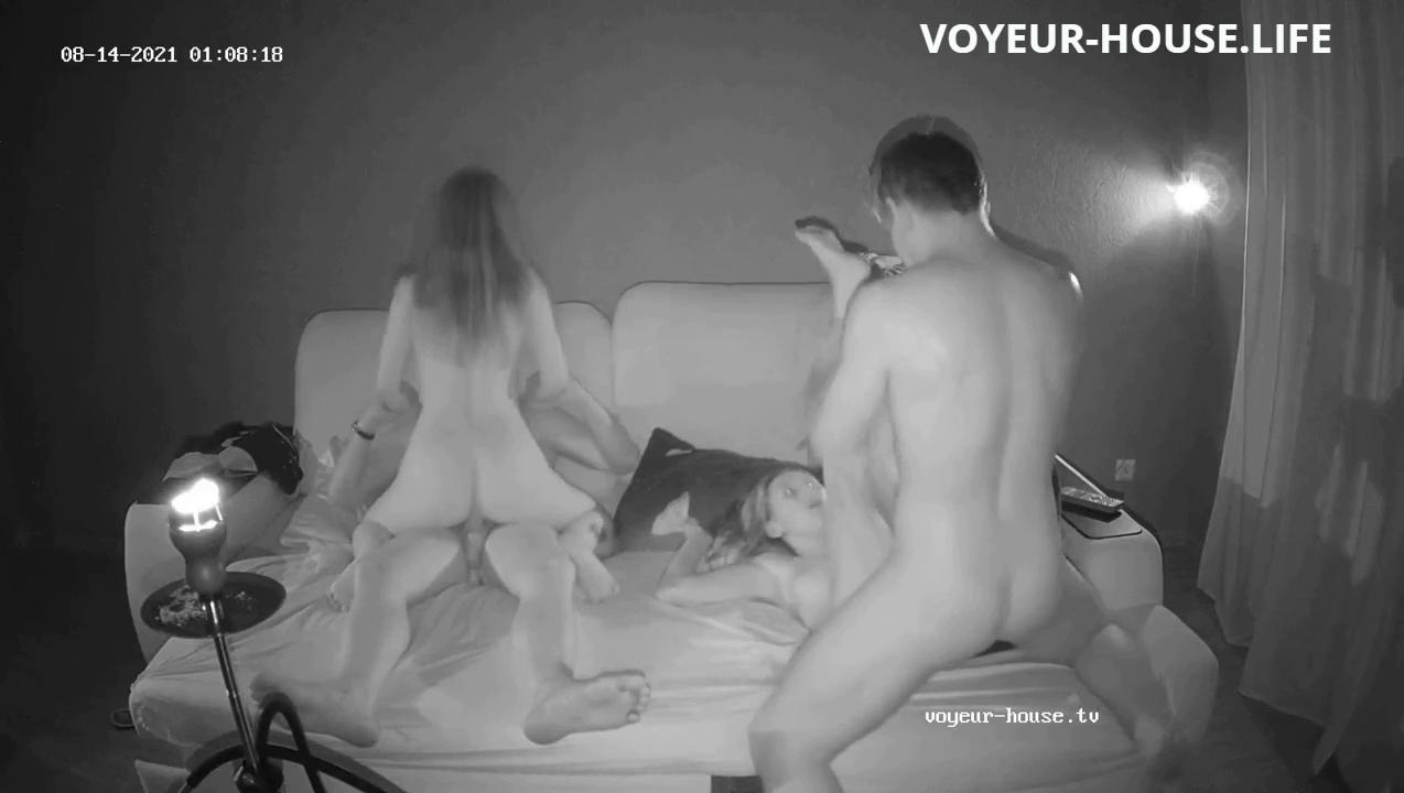 Sunny friends hot foursome in Living room Aug 14 2021 full video go to voyeur house life