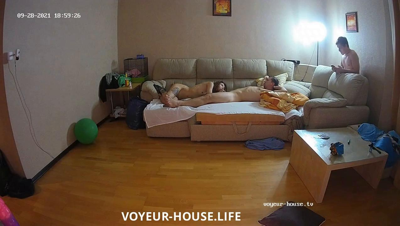 Threesome continues in the living room Sep28 2021 cam 3