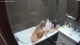 Polina fingerbanged by guest girl in bath Oct 25 10 2020